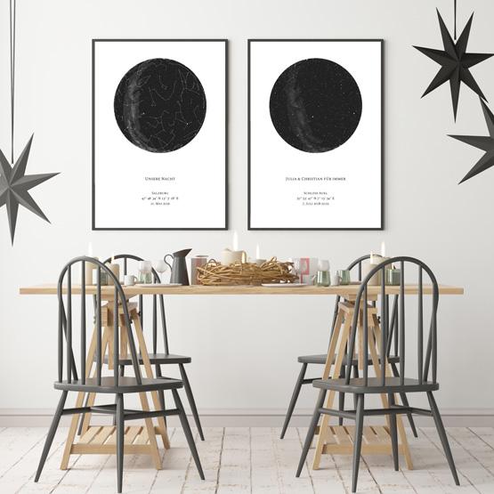 Personalisierte Sternenkarten mit schwarzem Rahmen