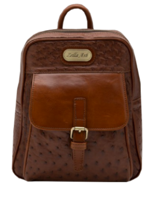 Zella Ash - The Meg Brown Ostrich Leather Backpack