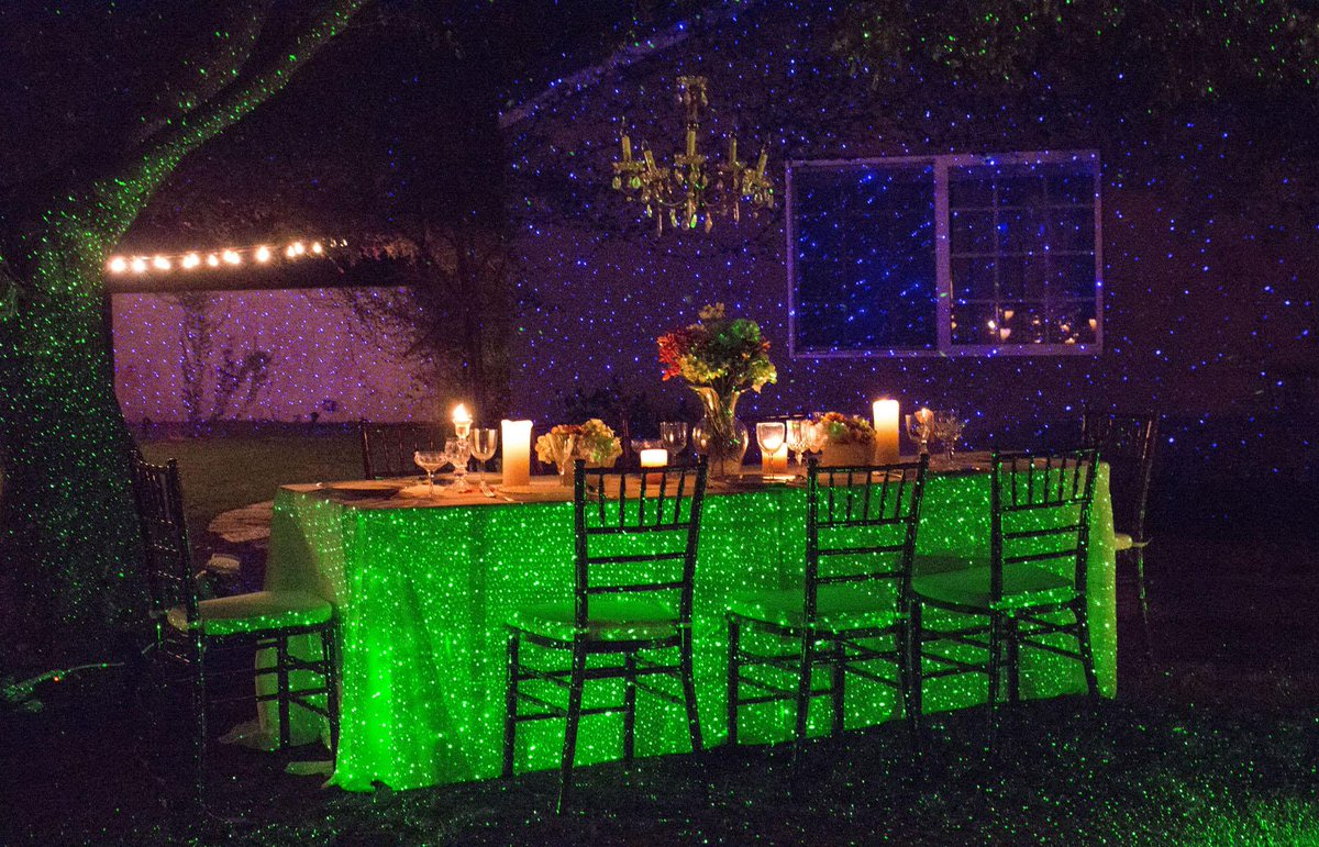 Outdoor Event Lighting with Laser Light Projectors Blue and Green