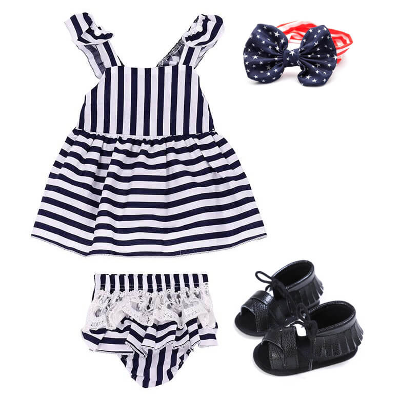 Baby Girl Striped Outfit Set