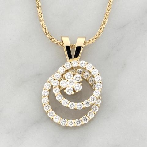 Yellow Gold Double Diamond Circle Spinner Pendant