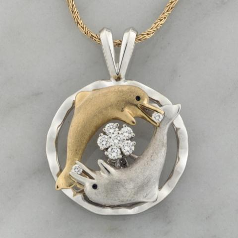 Brushed White & Yellow Gold Double Dolphin Spinner Pendant