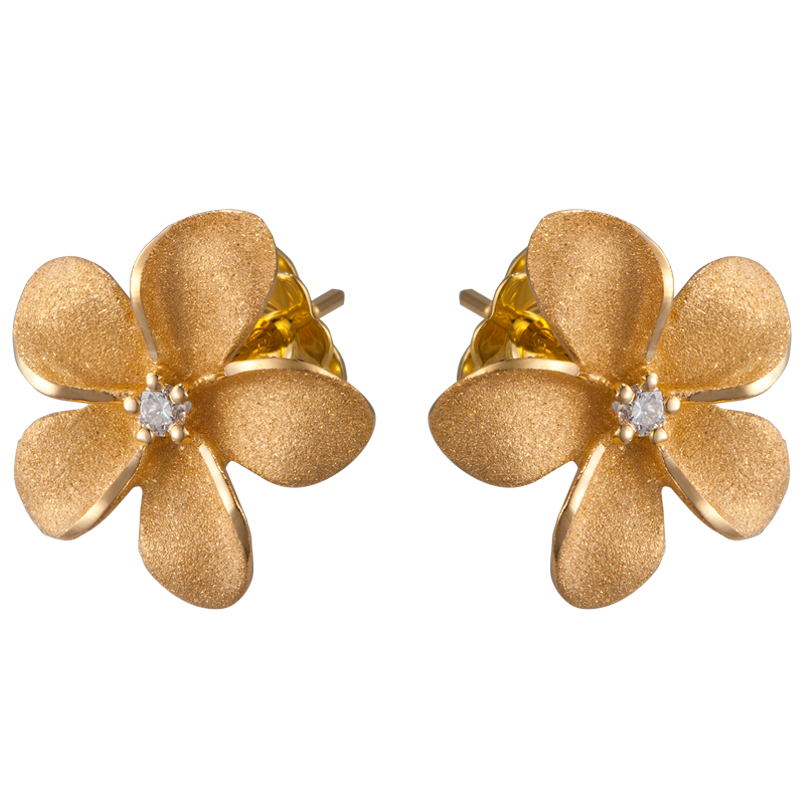 Plumeria Earrings With 2 Diamonds