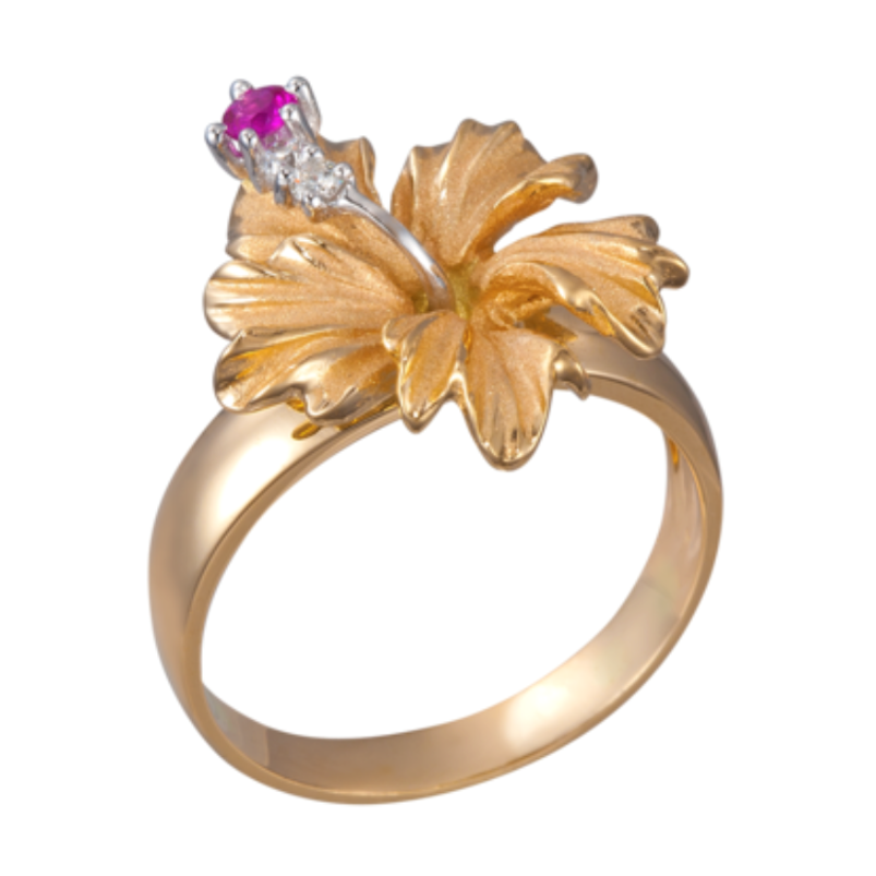 Denny Wong 14k Hibiscus Ring With 2 Diamonds