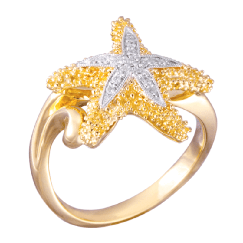 Denny Wong 14k Sea Star Ring With 16 Diamonds