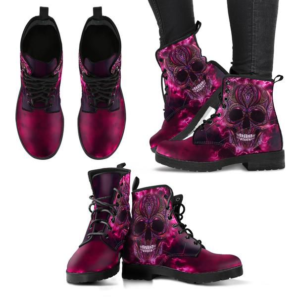 pink skull boots