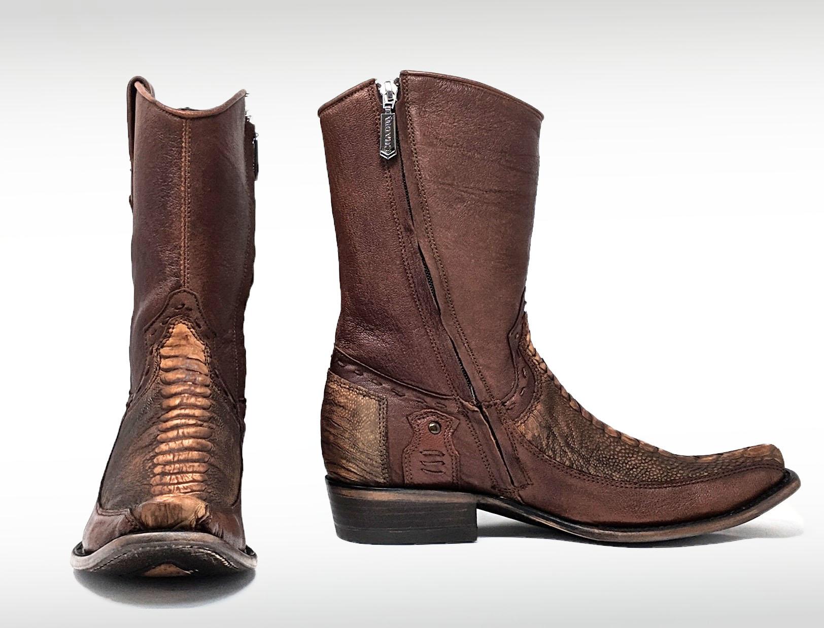 Mens Cuadra Ostrich Leg Cowboy Zipper Boot El Potrero Western Wear