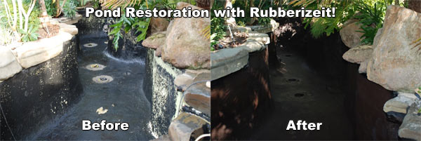 Dura-Rubber before and after Koi pond application