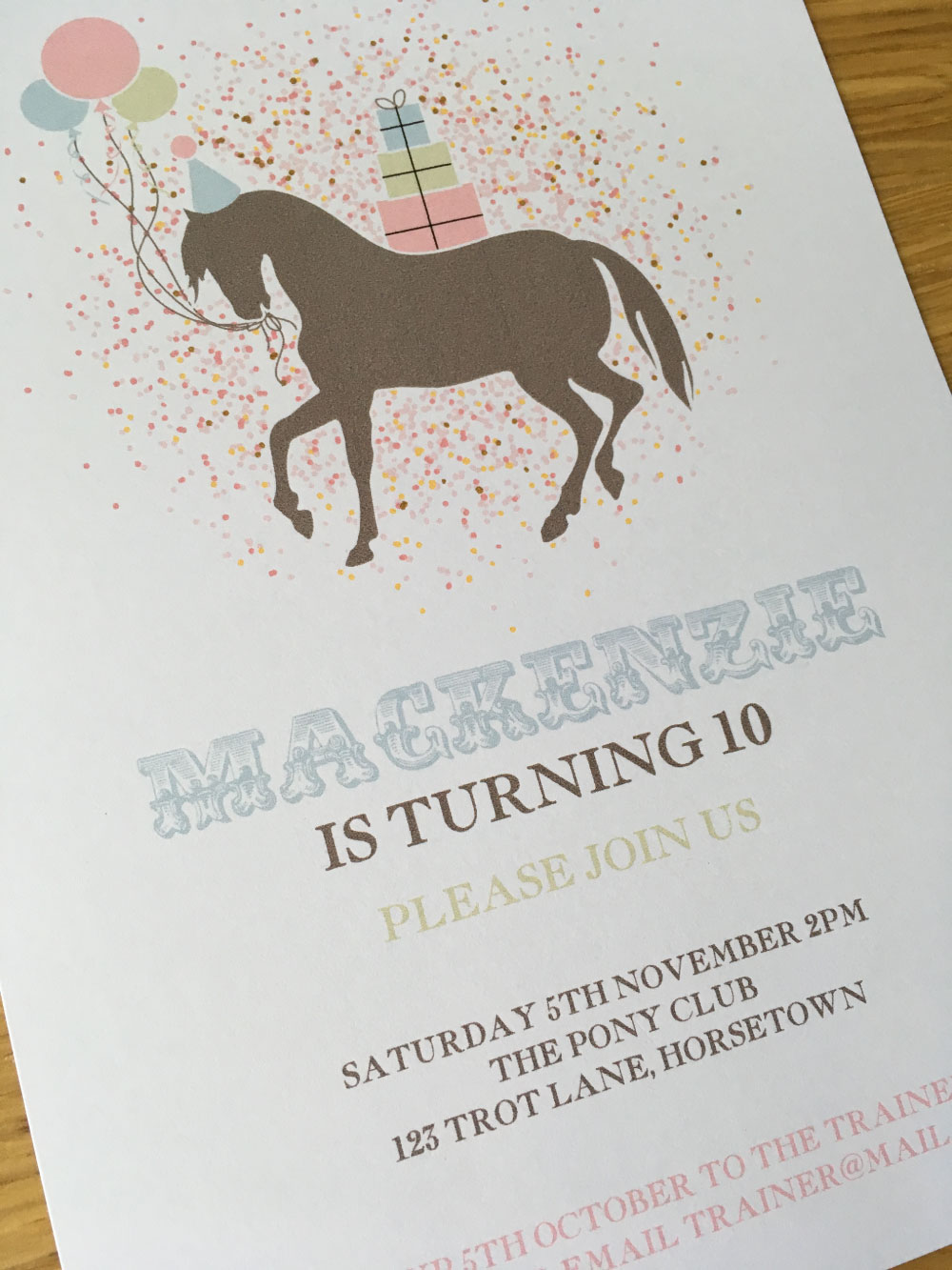 printable pony party invitation girls parties
