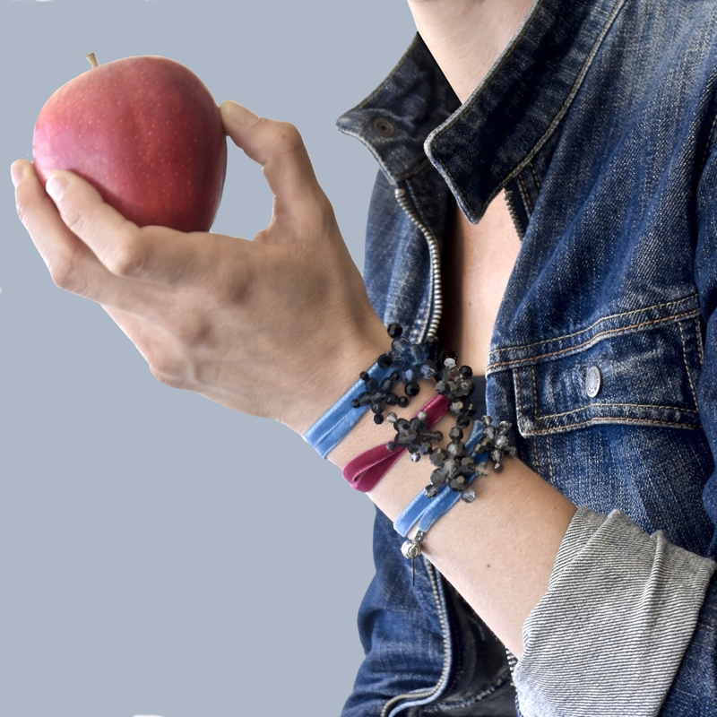 Bracelets and an apple