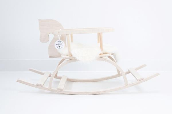 Handmade wooden rocking horse Petit Puk, natural wood