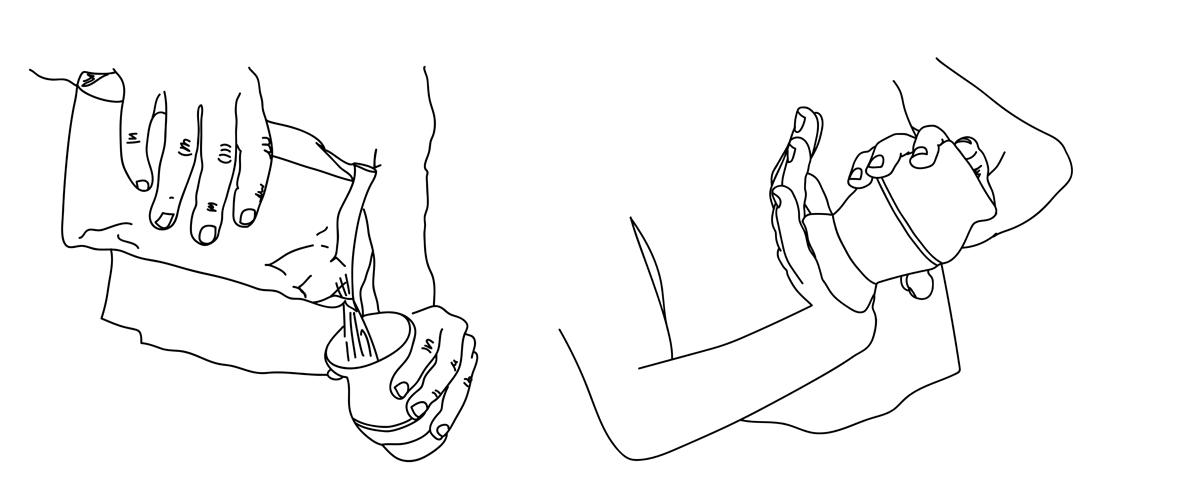 Préparer le maté: Verser la yerba maté et agiter