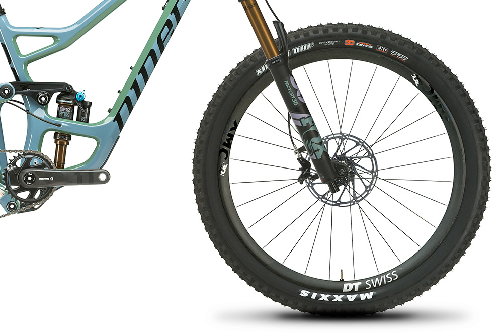 Close up on front wheel of RIP 9 RDO 27.5 Mountain Bike