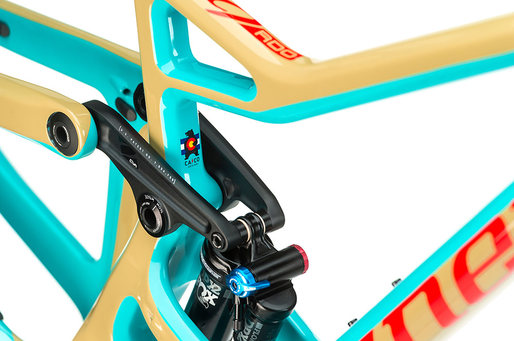 close up of frame details on an aggressive trail bike