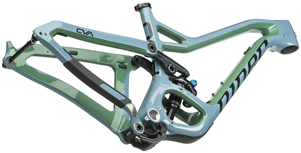 A look at the new frame design of an aggressive trail bike