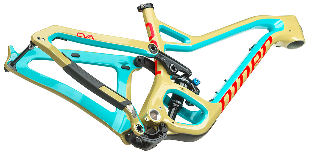 A look at the rear suspension of an aggressive trail bike