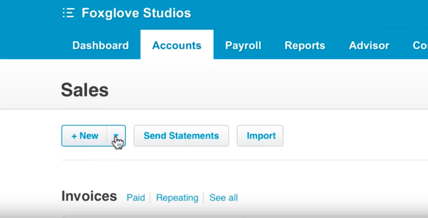 The second step to creating invoices in Xero