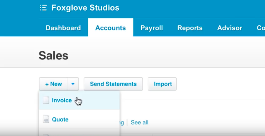 The third step in creating invoices in Xero