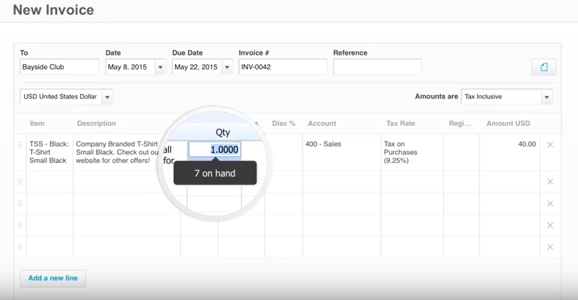 The eigth step in creating invoices in Xero