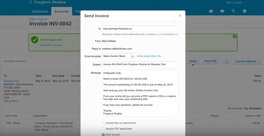 The final step to creating invoices in Xero