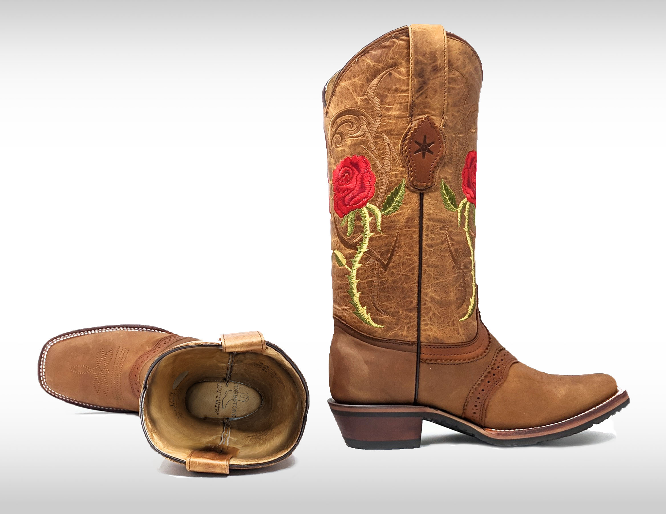 Tombstone Women's Arena Queen Red Rose Square Toe Boots