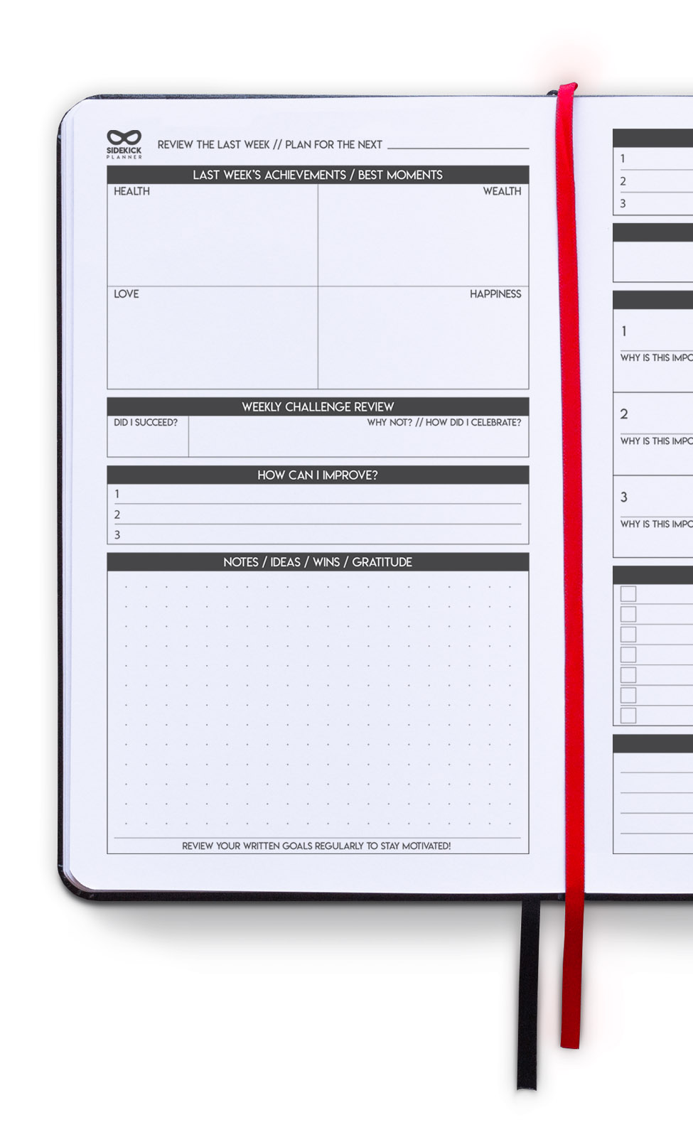 sidekick planner undated daily goal planner inside weekly review