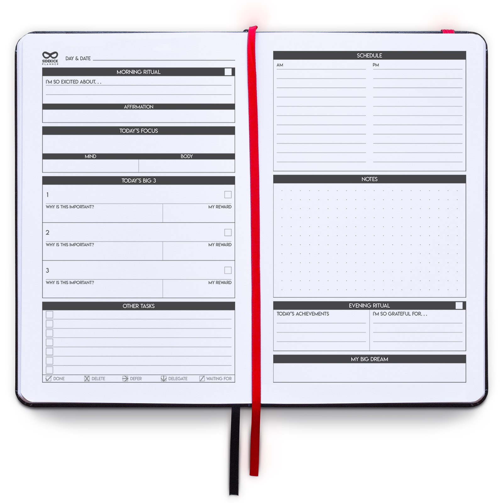 sidekick planner undated hardcover daily weekly monthly goal planner example daily page for men and women