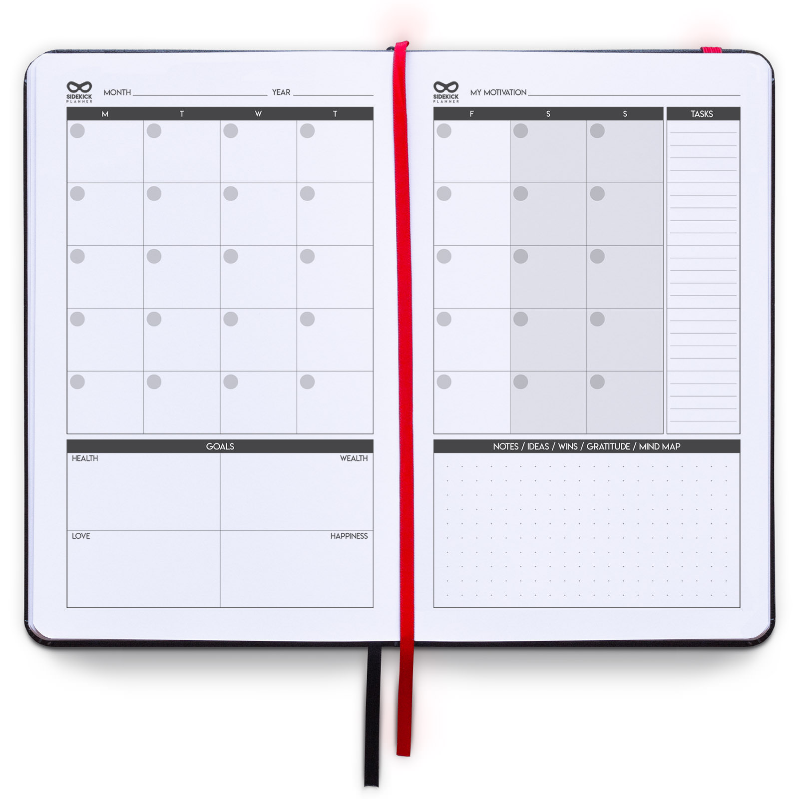 sidekick planner undated hardcover daily weekly monthly goal planner example monthly page for men and women