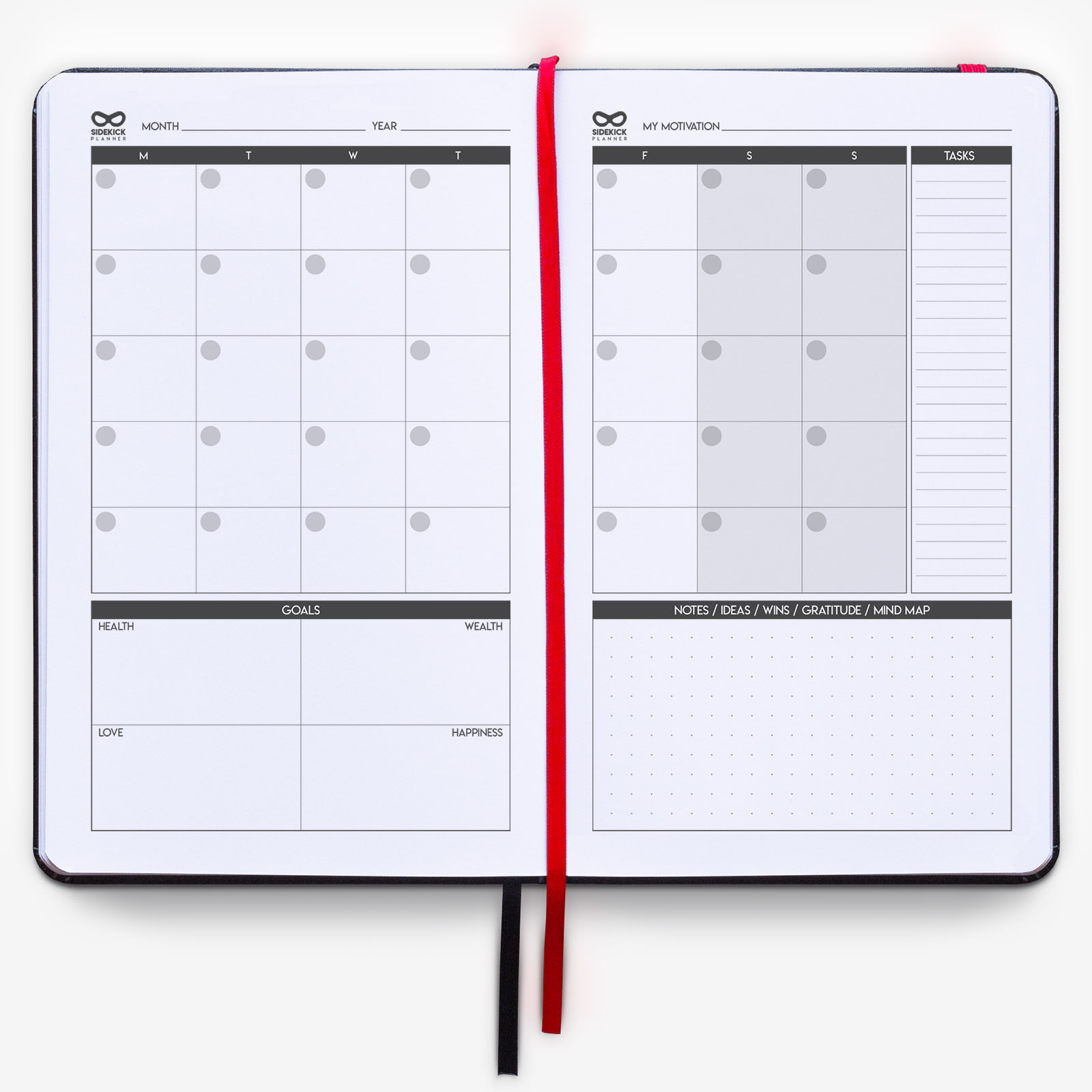 sidekick planner open pages montly review and planning notebook journal red bookmark