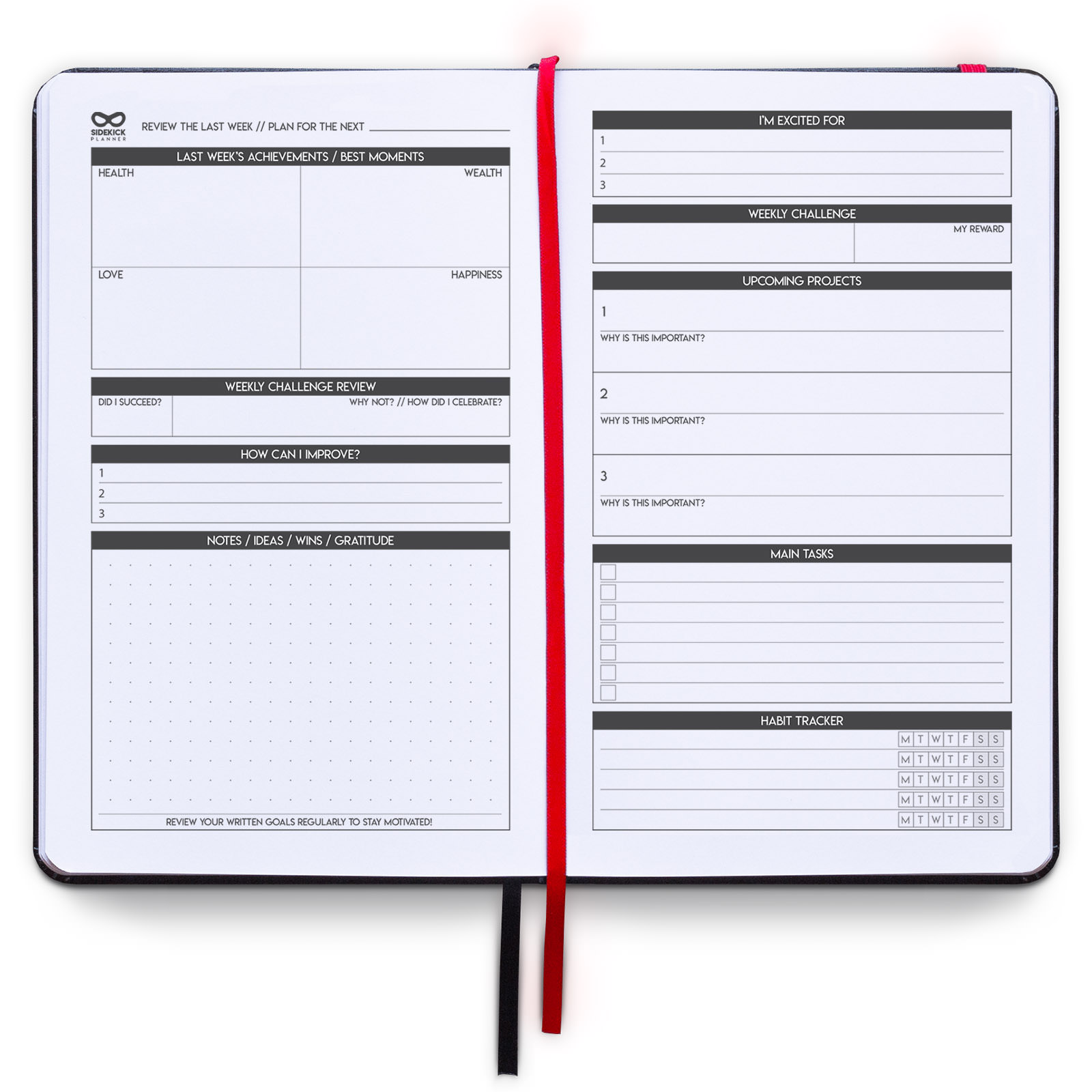 sidekick planner undated hardcover daily weekly monthly goal planner example weekly page for men and women