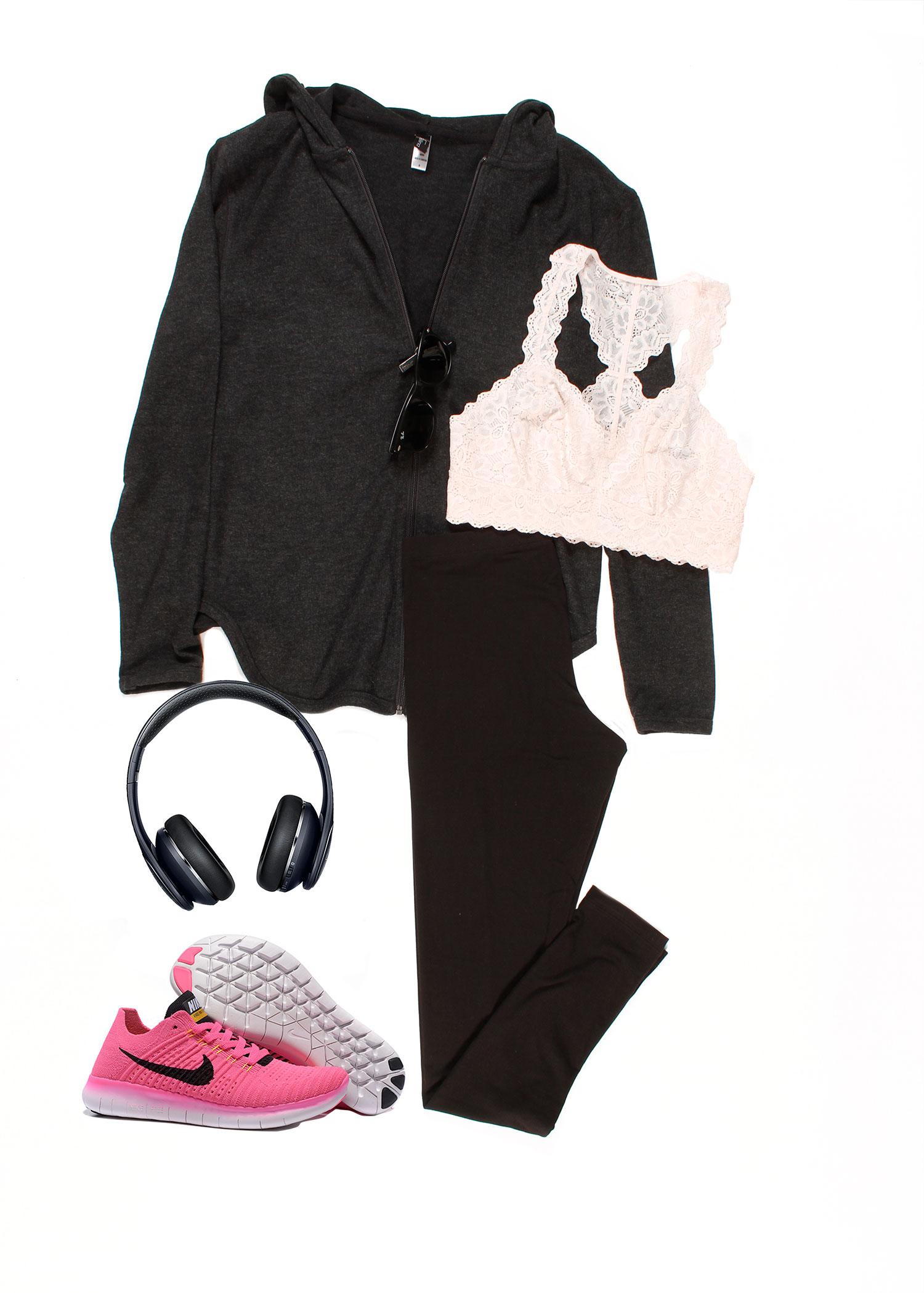 Victoria Zip Front Hoodie Lace Bralette Cotton Modal Legging