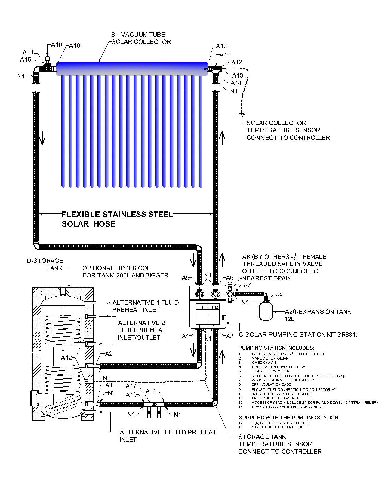 Solar Water Heating Schematic