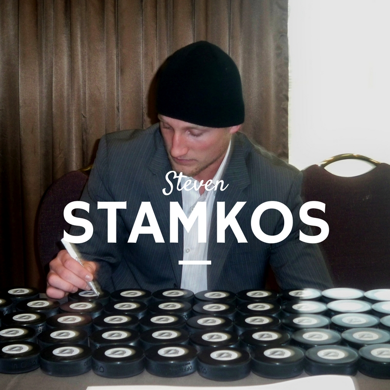 Steven Stamkos of the Tampa Bay Lightning signing hockey pucks at our CoJo Sport's private autograph signing in 2010 in Toronto
