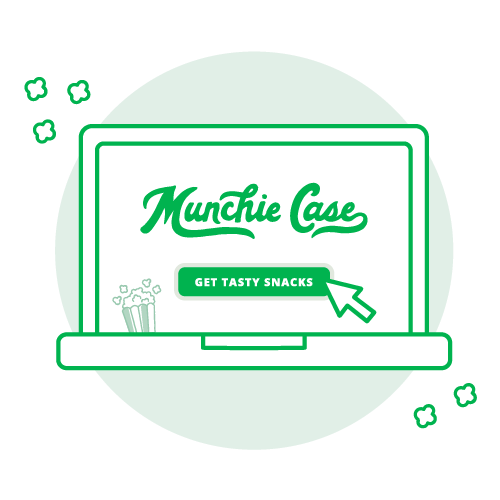 green laptop displaying munchie case logo and submit button to get tasty snacks