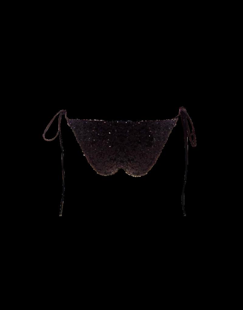 Sumarie Pantheon sequin bikini bottom in black