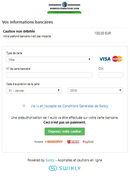 informations carte bancaire swikly