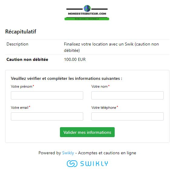swikly informations personnelles location