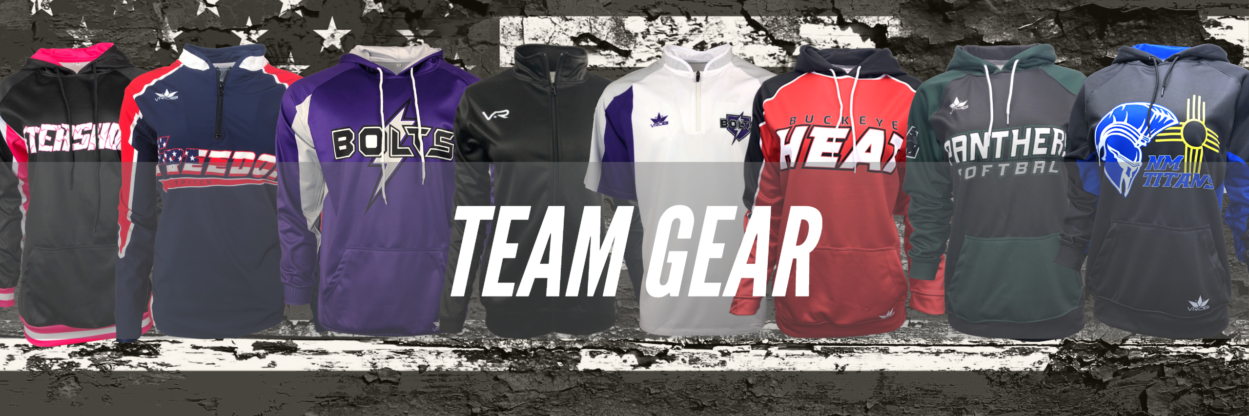 Custom Full Dye Sublimated Hoodies, quarter zips, full zip jackets for Team Sports
