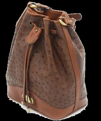 Zella Ash - The Vero, Brown Ostrich Leather Bucket shoulder Bag