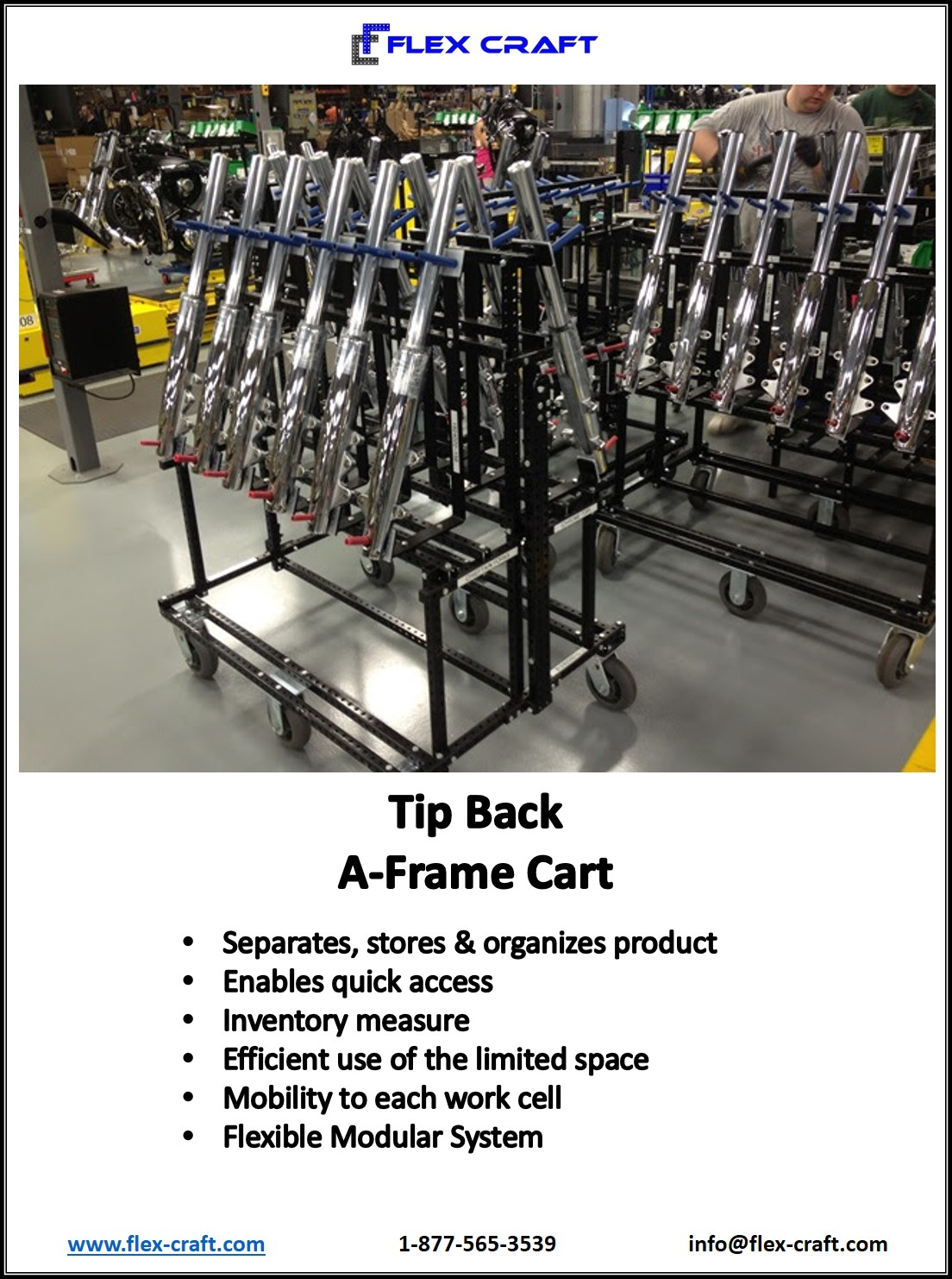 Tip Back Vertical Storage Long Parts Cart