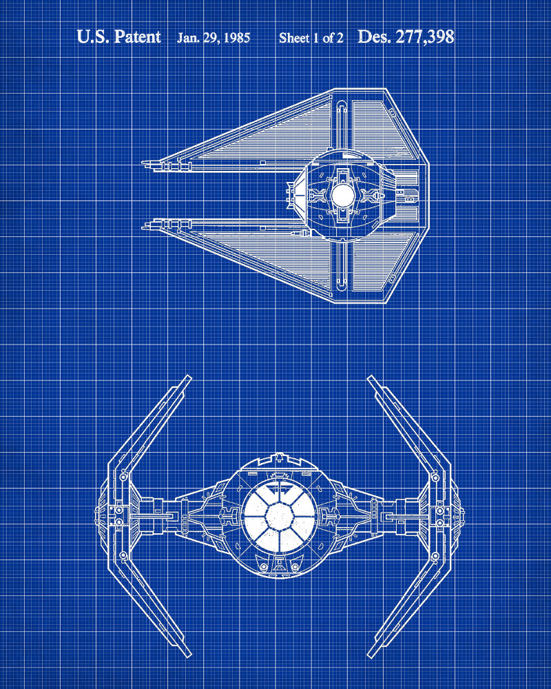 tie interceptor star wars patent print