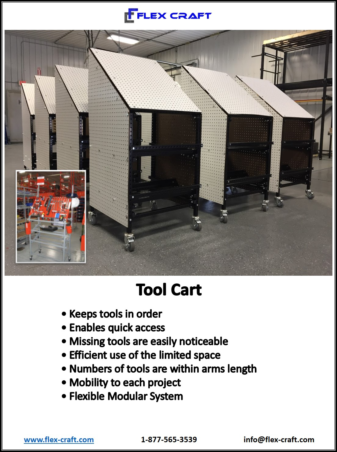 Mobile Tool Tote Cart Storage