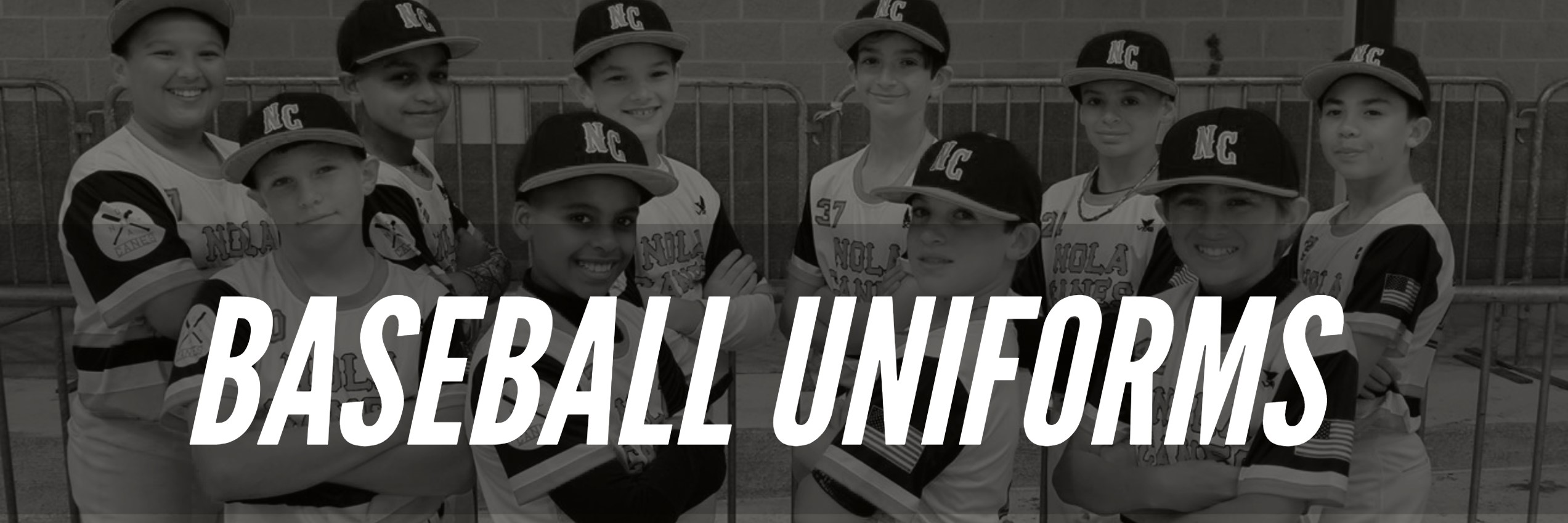 Youth Baseball Team posing in their Custom Sublimated full dye Baseball Uniforms