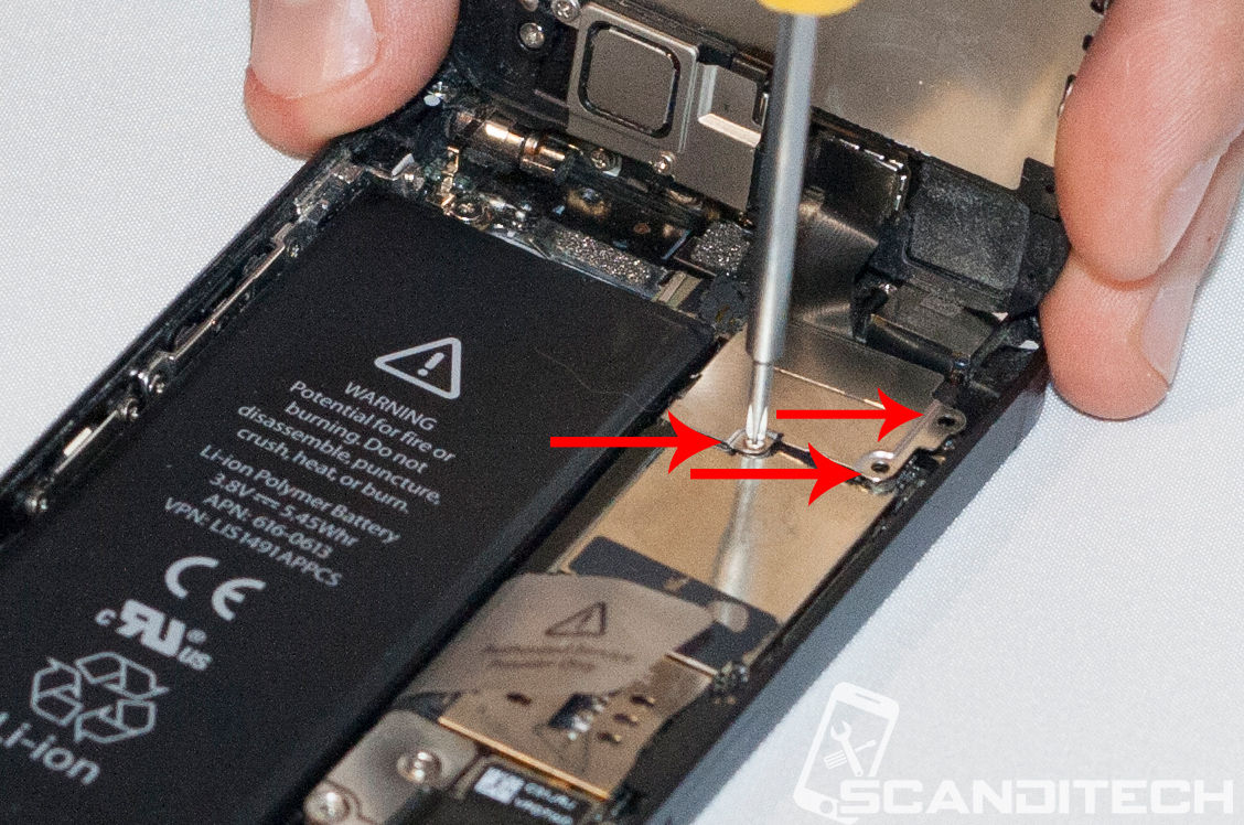 iPhone 5 battery replacement guide - Reinserting the screws.