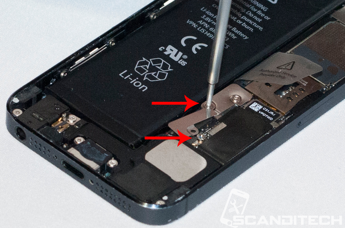iPhone 5 battery replacement guide - Reinstalling the battery metal cover.