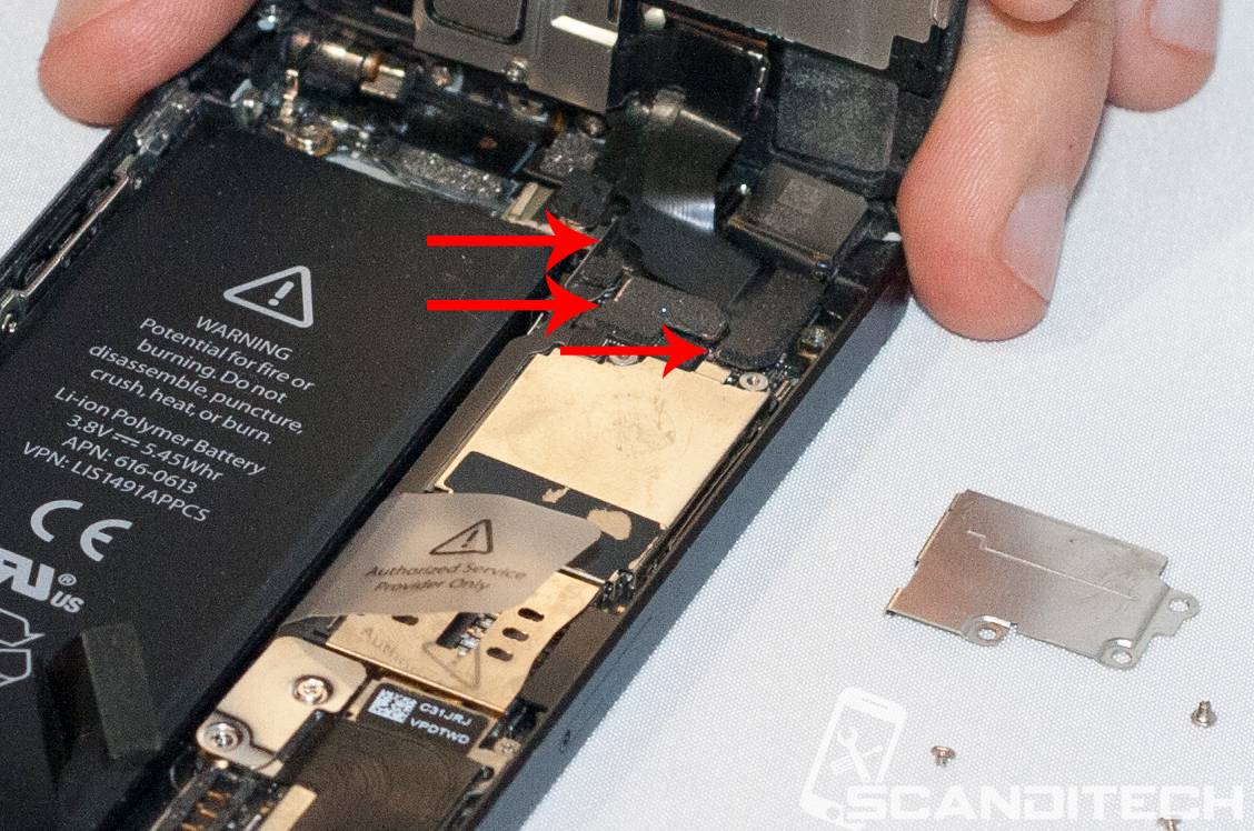 iPhone 5 battery replacement guide - Identifying the screen cables.