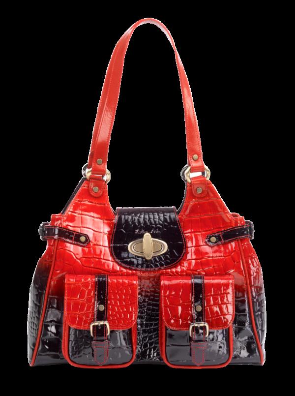 Zella Ash - Grizela, Patent Red & Black Embossed Leather Shoulder Ba...
