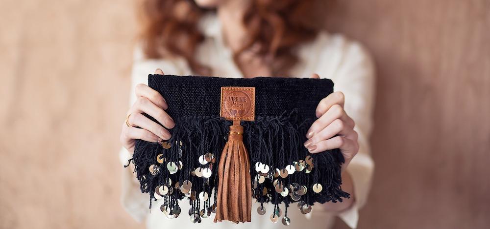 black velvet bag made in Morocco