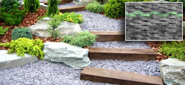 Weed Barrier Fabric under crushed rock pathway