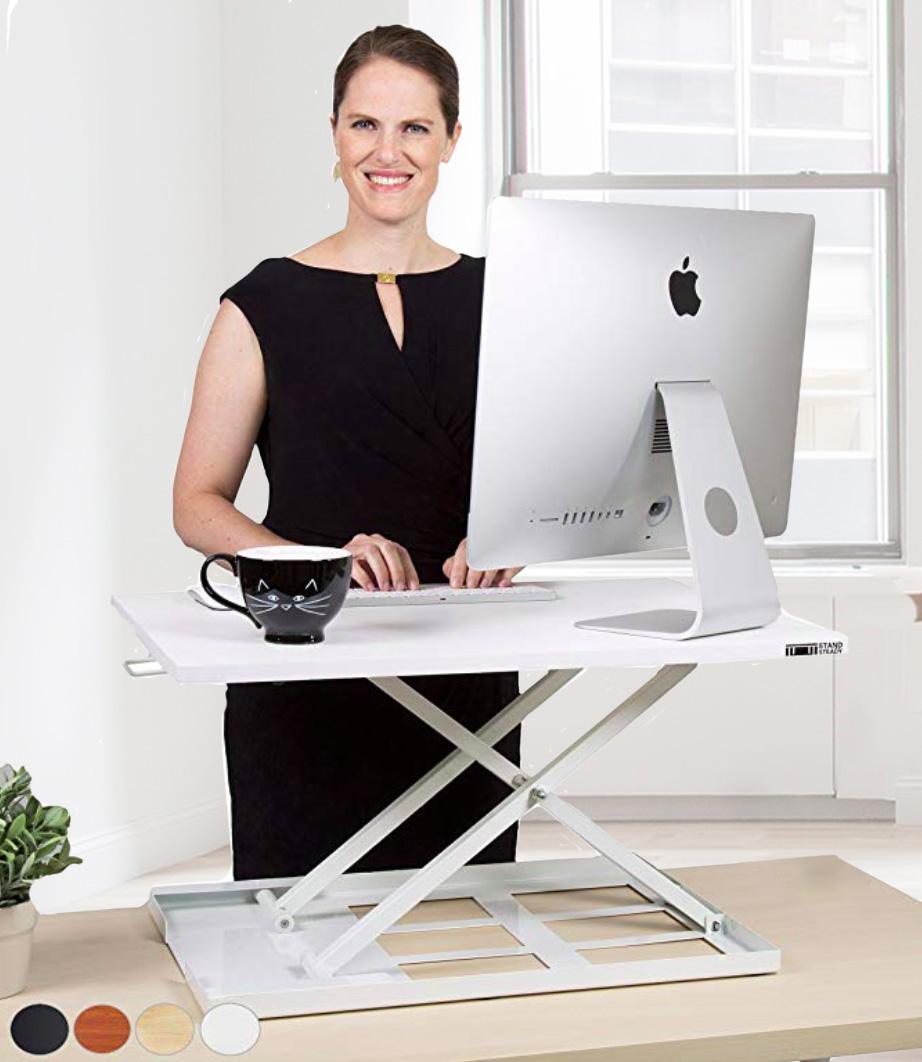 white standing desk converter - x-elite pro